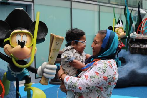 Omar and mum in the Disney Reef at GOSH